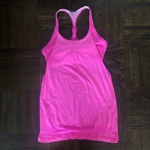 Pink Lululemon Workout Tank Top with Built In Bra